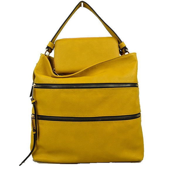 Double zip shoulder bag with wallet - yellow