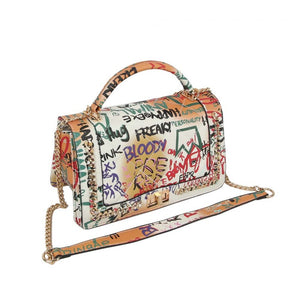 Turn lock graffiti crossbody bag - multi 3