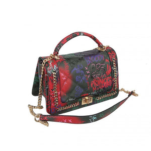 Turn lock graffiti crossbody bag - multi5