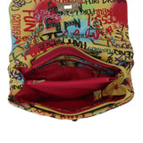 Quilted graffiti satchel with wallet - multi2