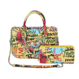 Quilted graffiti satchel with wallet - multi1