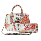 Quilted graffiti satchel with wallet - multi3