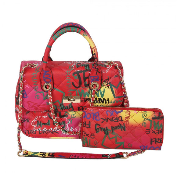 Quilted graffiti satchel with wallet - multi4