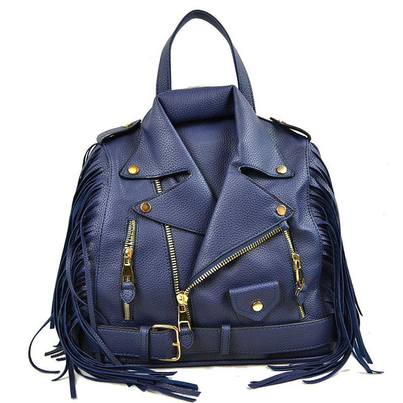Convertible leather jacket bag - navy