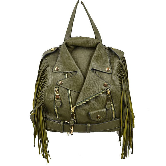Convertible leather jacket bag - olive