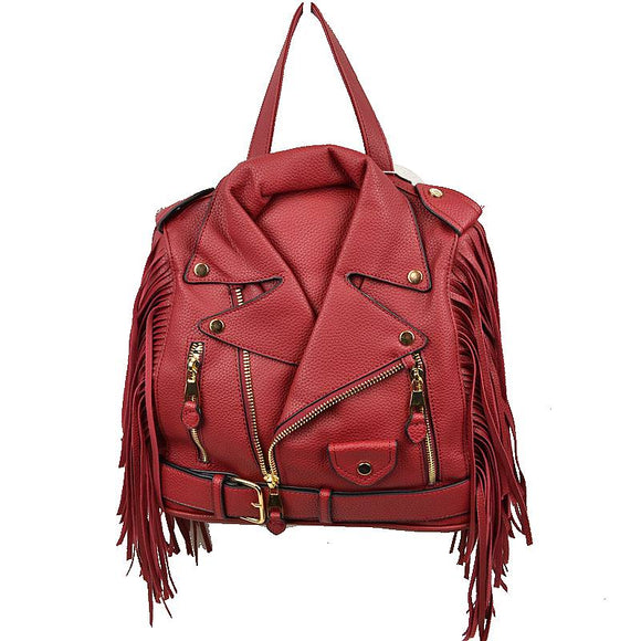 Convertible leather jacket bag - wine