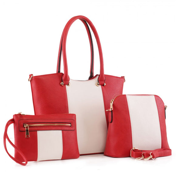 3 in 1 Two tone handbag set - red/white