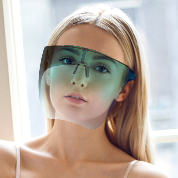 [10pcs] Fashion face shield with glasses frame - green