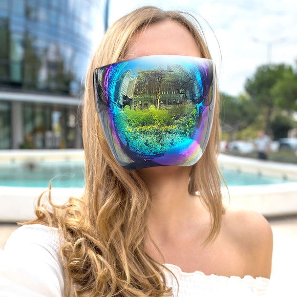 [10pcs] Fashion face shield with glasses frame - multi mirror