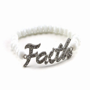 FAITH & BEAD BRACELET - WHITE