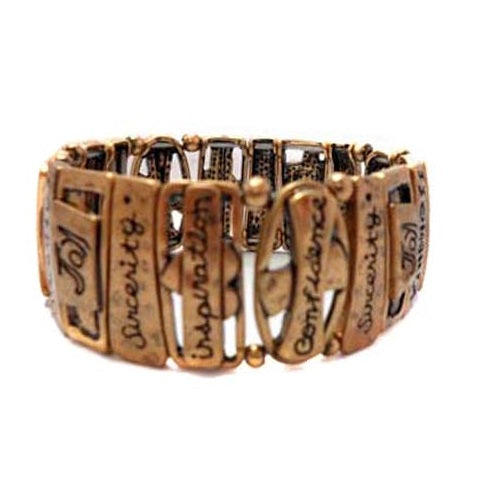 Inspirational word bracelet - gold