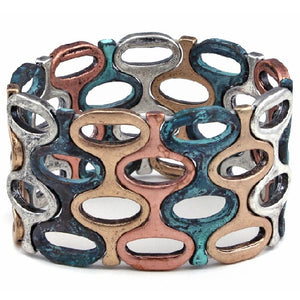 Chunky mix metal bracelet - patina multi