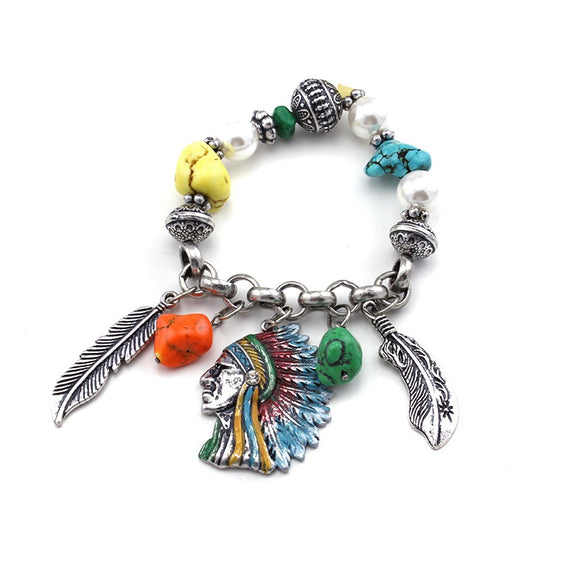 [12PC] Native American Bracelet- 4448sbmt