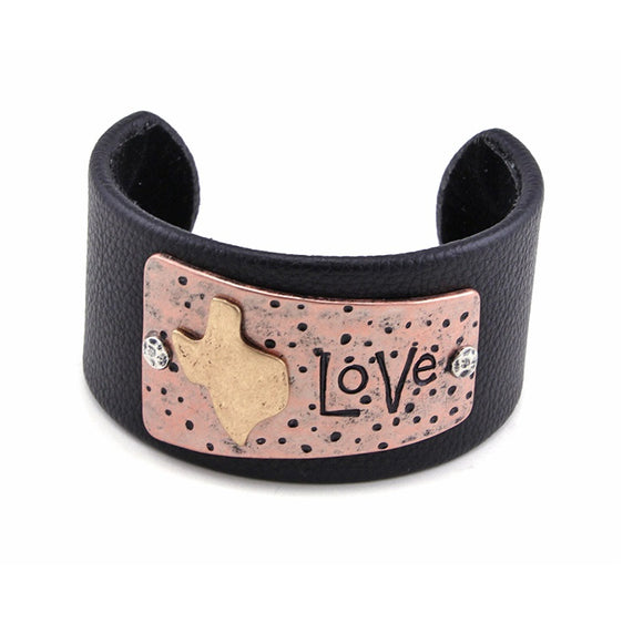 [12PC] Chunky Leather Cuff - TX love
