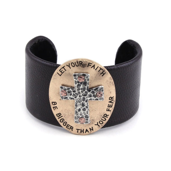 [12PC] Chunky Leather Cuff - let your FAITH