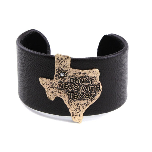 [12PC] Chunky Leather Cuff - don't mess with Texas gold