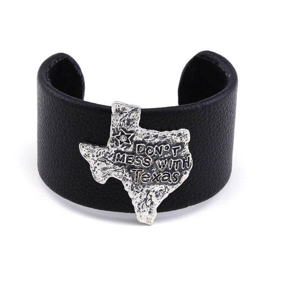 [12PC] Chunky Leather Cuff - don't mess with Texas silver