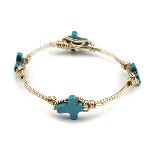 CROSS WIRE BANGLE - TURQUOISE - Pink Vanilla