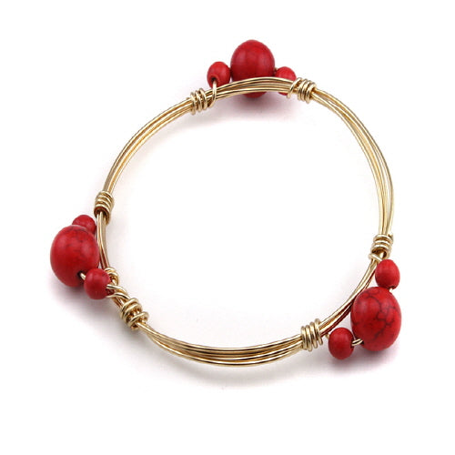 BEAD STONE WIRE BANGLE - CORAL RED - Pink Vanilla