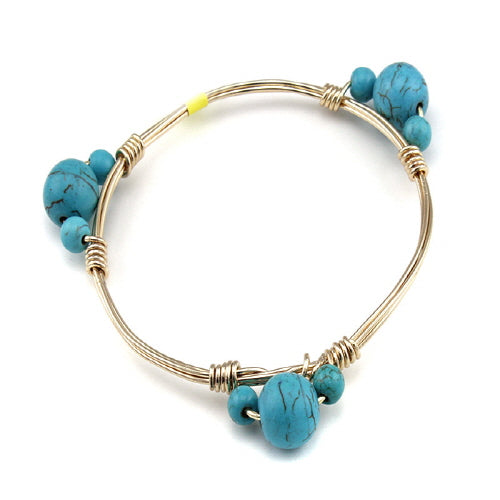 BEAD STONE WIRE BANGLE - TURQUOISE - Pink Vanilla