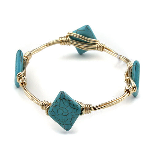 SQUARE GOLD WIRE BANGLE - TURQUOISE