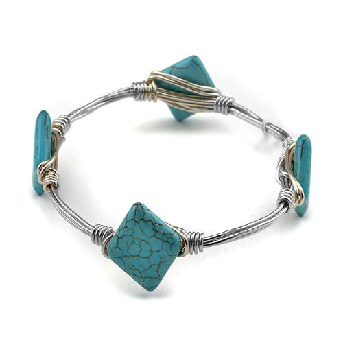 SQUARE RHODIUM WIRE BANGLE - TURQUOISE