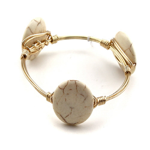 ROUND STONE WIRE BANGLE - NATURAL