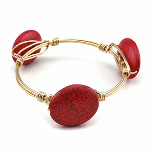 OVAL STONE WIRE BANGLE - CORAL