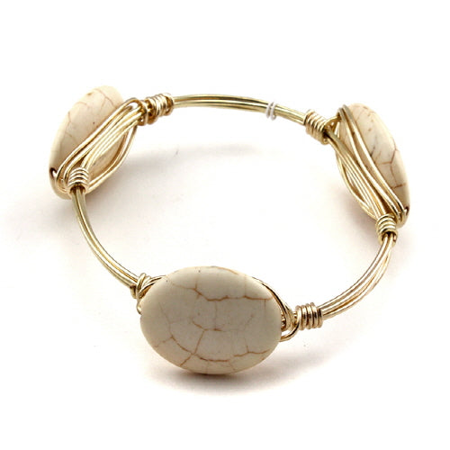 OVAL STONE WIRE BANGLE -NATURAL