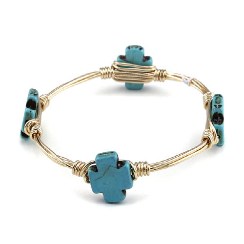 CROSS STONE WIRE BANGLE - TURQUOISE - Pink Vanilla