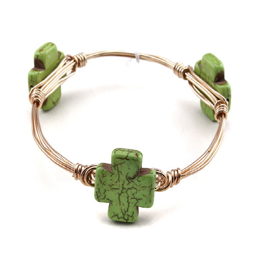 CROSS WIRE BANGLE - GREEN
