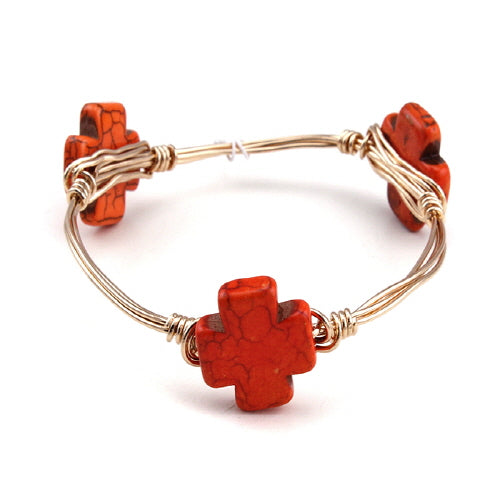 CROSS WIRE BANGLE - ORANGE