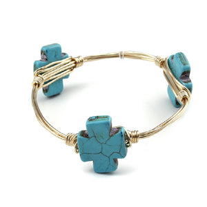 CROSS WIRE BANGLE - TURQUOISE