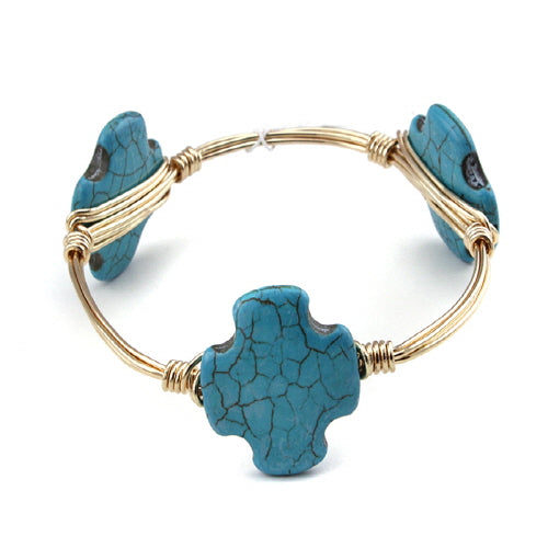 TURQUOISE CROSS WIRE BANGLE
