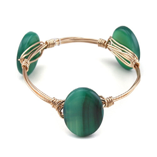 ROUND SEMI PRECIOUS WIRE BANGLE