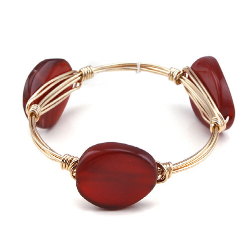 SEMI PRECIOUS WIRE BANGLE - BROWN