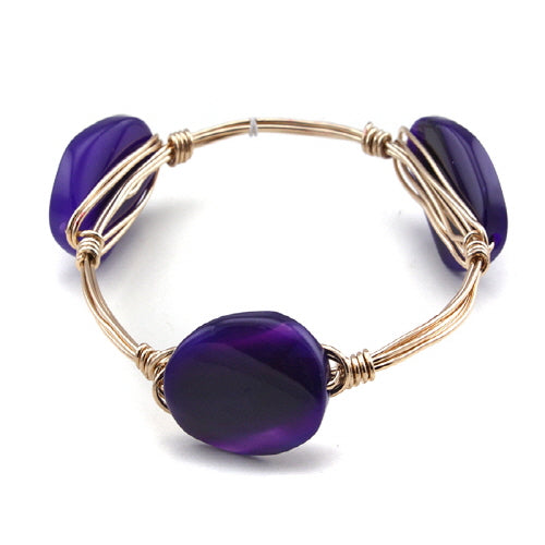SEMI PRECIOUS WIRE BANGLE - PURPLE