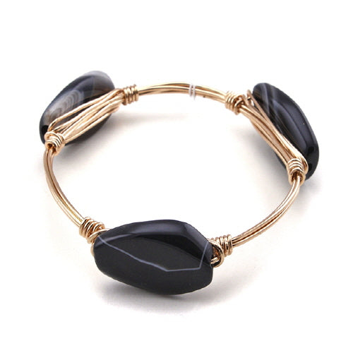 SEMI PRECIOUS WIRE BANGLE - BLACK