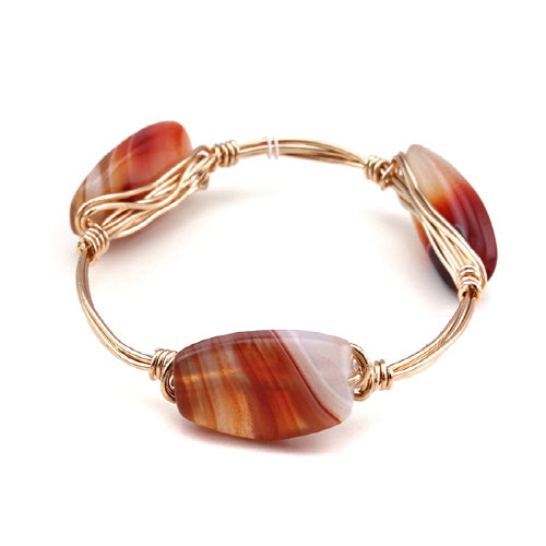 SEMI PRECIOUS WIRE BANGLE - LIGHT BROWN
