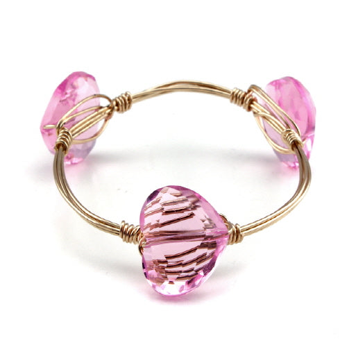 HEART WIRE BANGLE - PINK