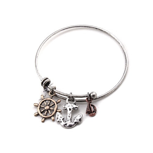 Nautical charm bangle - tri tone
