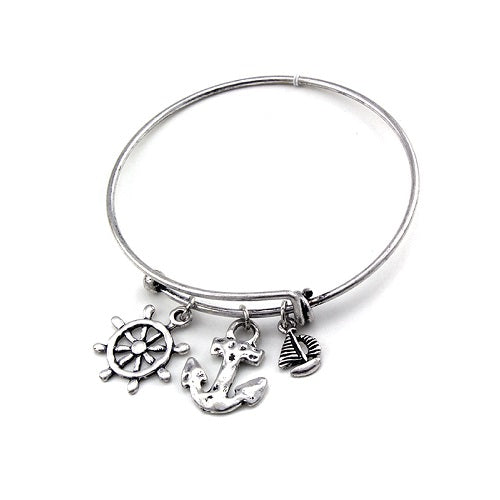 Nautical charm bangle - silver