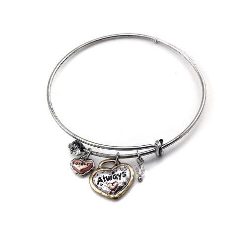 Heart w/ always charm bangle