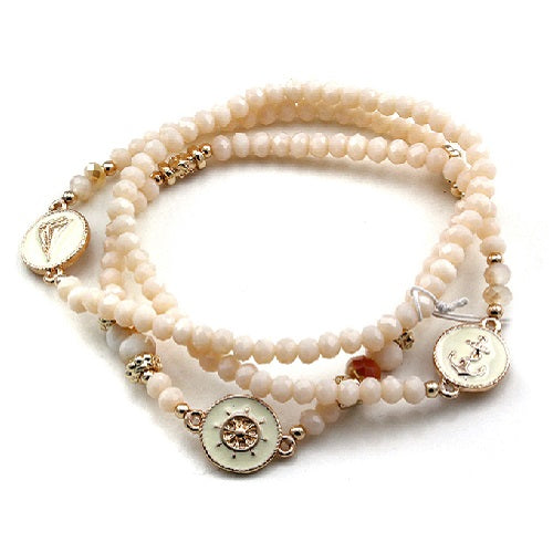 Nautical glass bead bracelet - natural