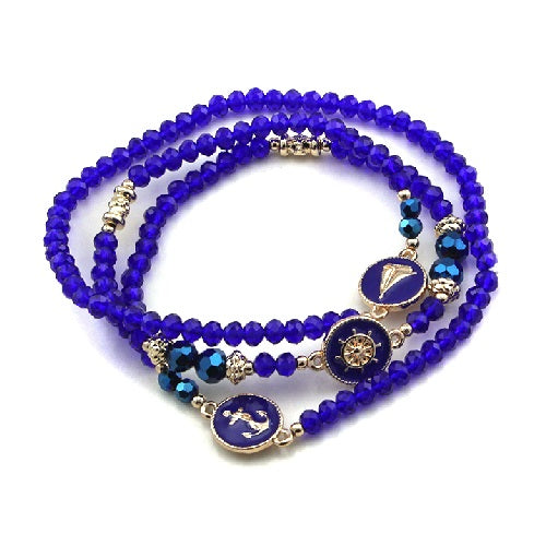 Nautical glass bead bracelet - navy