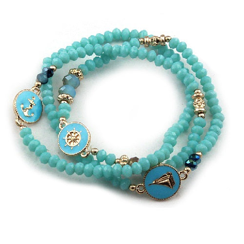 Nautical glass bead bracelet - turquoise