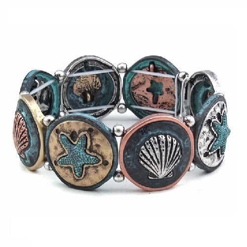 Starfish & shell bracelet - patina