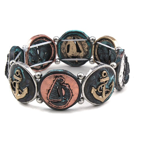 Nautical theme bracelet - patina