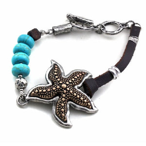 Starfish with turquoise stone toggle bracelet