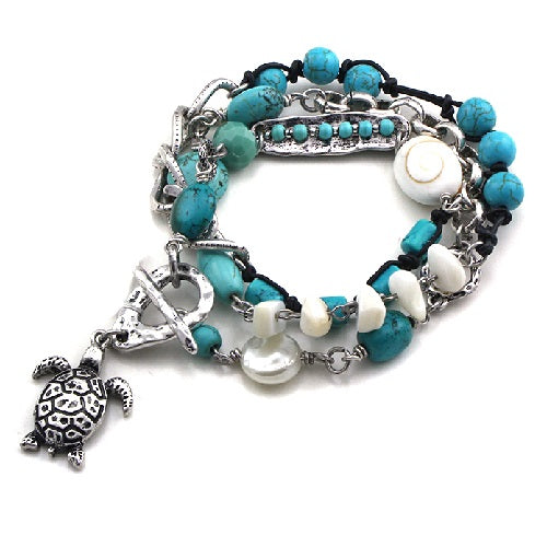 Turtle with pearl & bead bracelet